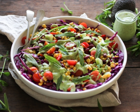 Cobb Salad with Green Herby Avocado Dressing