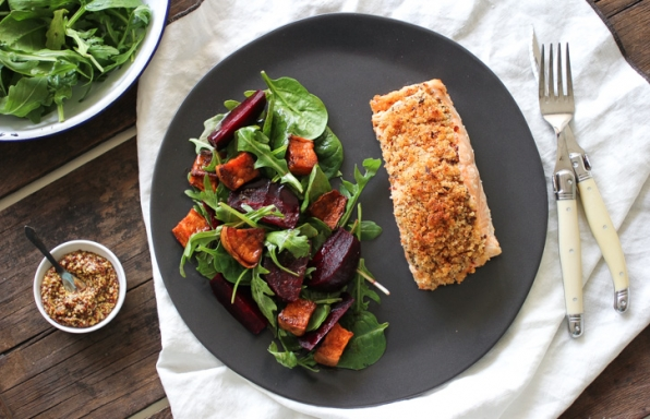 Mustard Crusted Salmon with Roast Beetroot and Sweet Potato Salad