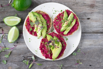 beet hummus and avocado suhoor