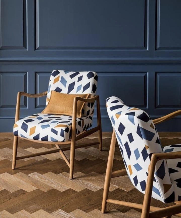 Blue Toned Chair and Walls with hints of mustard